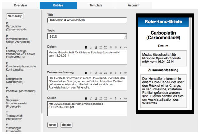 """Figure 4: Content management.  In """"entries"""" app content can be added via the user-configured entry form. Both text and media content can be added. All changes are immediately online and can be accessed by the students."""